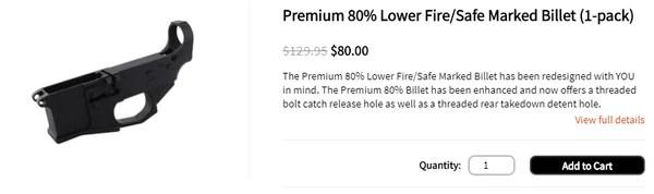 Premium 80% Lower Fire/Safe Marked Billet (1-pack)