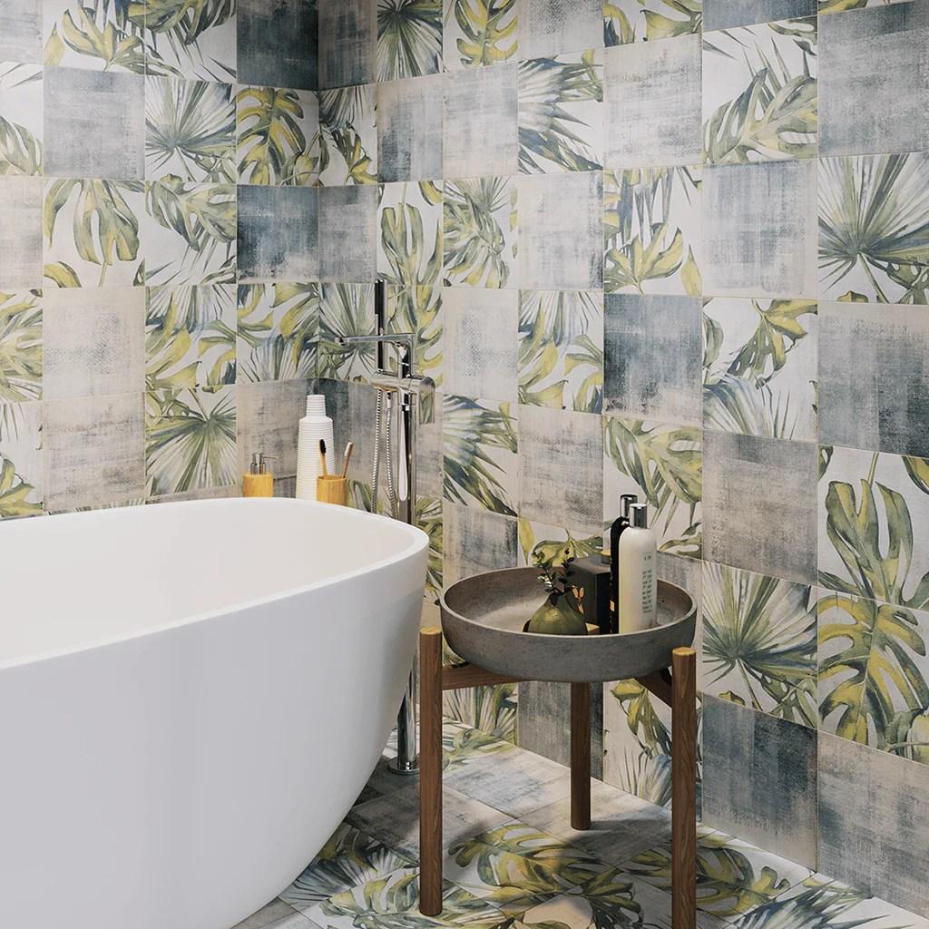 Encaustic Look Ronda Leaves 8x8 Porcelain Floor Tile Tilezz