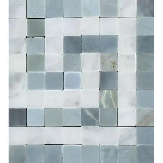 carrara white greek key border corner w blue gray marble