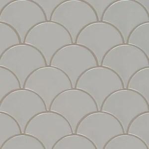 gray scallop glossy glazed porcelain mosaic tile