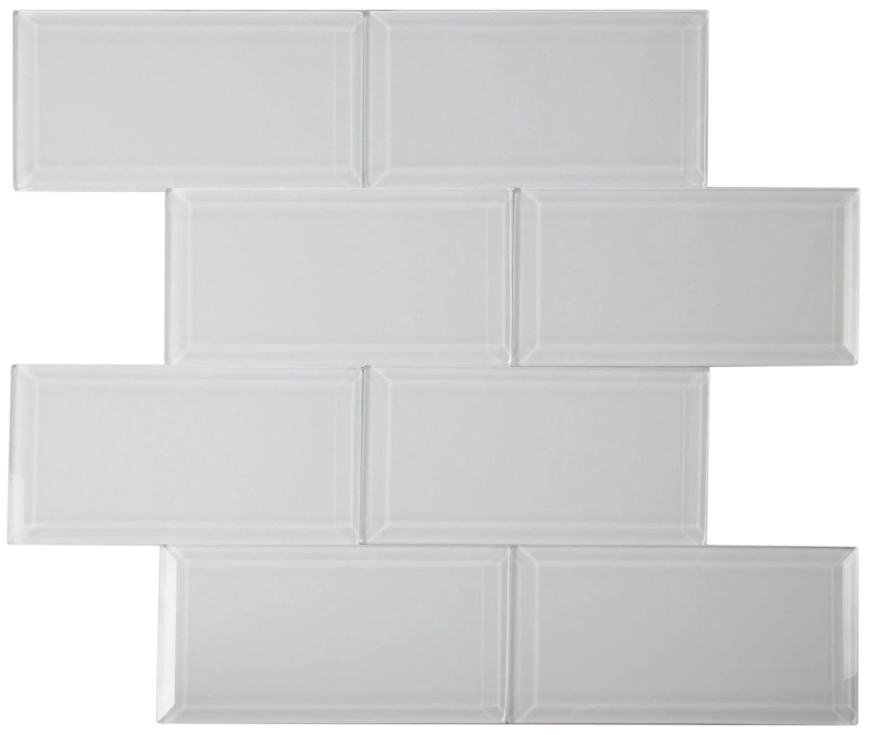 super white beveled glass subway tile