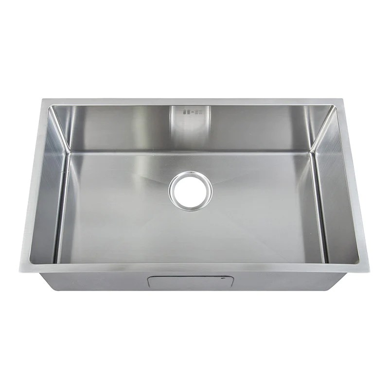740 x 440mm undermount deep single bowl handmade stainless steel kitchen sink with easy clean corners ds017