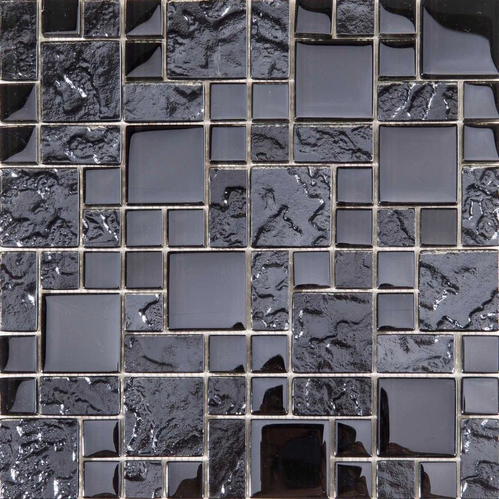 Textured  Smooth Black Glass Mosaic Tiles MT0144
