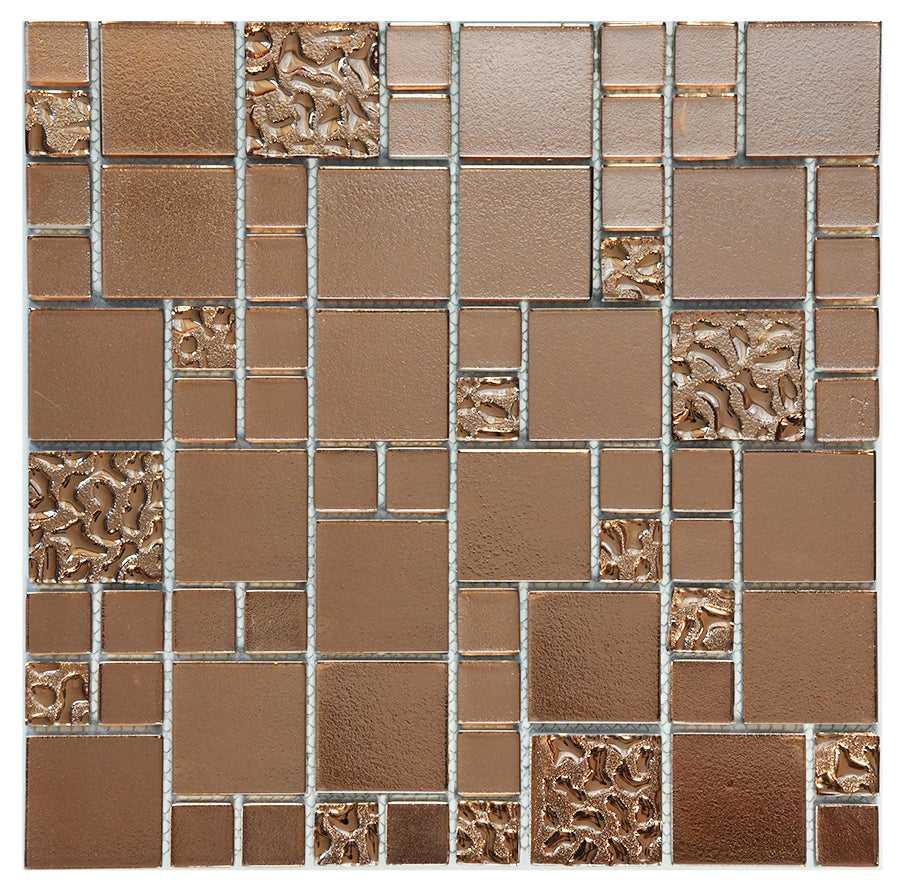copper lava plain glass mosaic tiles mt0197