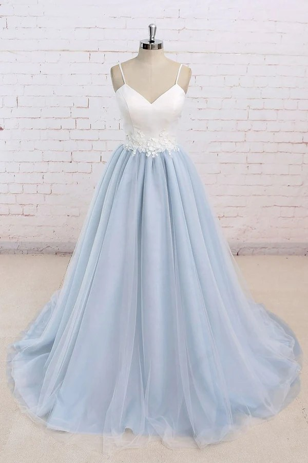 Tulle Baby Blue Long Flower Prom Dress With White TopEvening Dress  Promnova