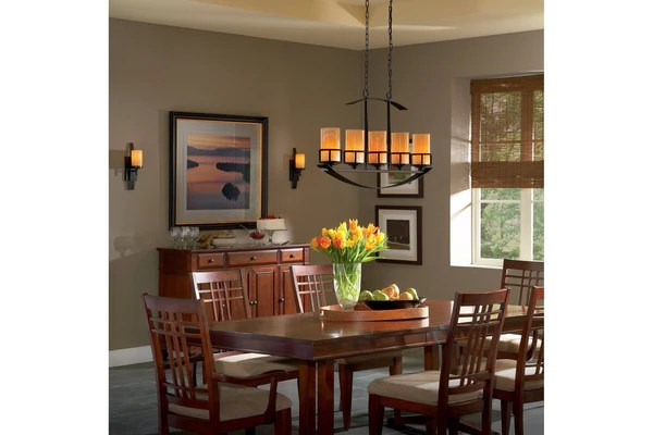 mission style dining room chandelier