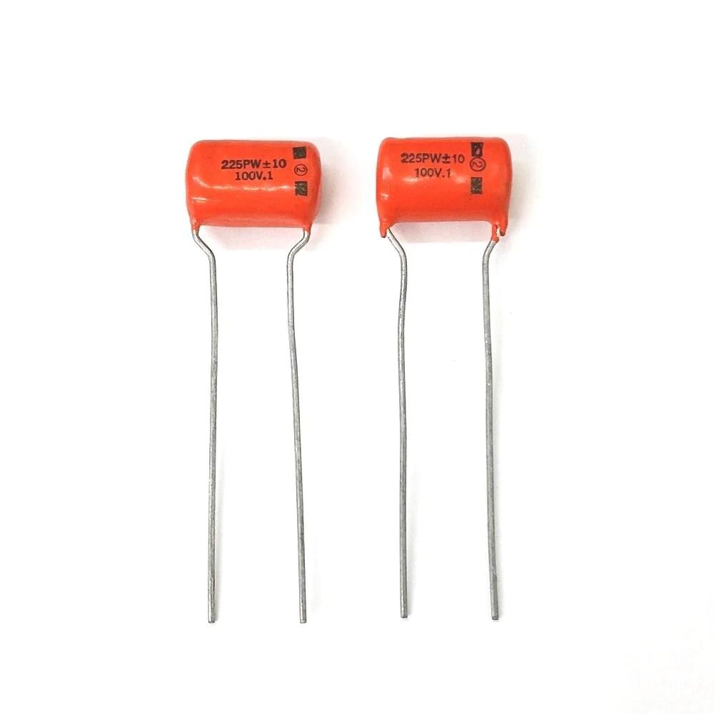 medium resolution of lot of 2 0 1uf 100v orange drop film capacitor cornell dubilier 225p cap