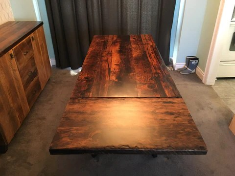 wooden kitchen tables grey mat custom made extension dining lush woodcraft table with leaf from reclaimed barn wood in kitchener waterloo