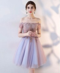 Cute lace off shoulder short prom dress, homecoming dress ...