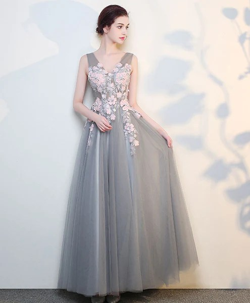 Gray v neck lace long prom dress grey evening dress  Shop Elegant Womens Evening and Cocktail