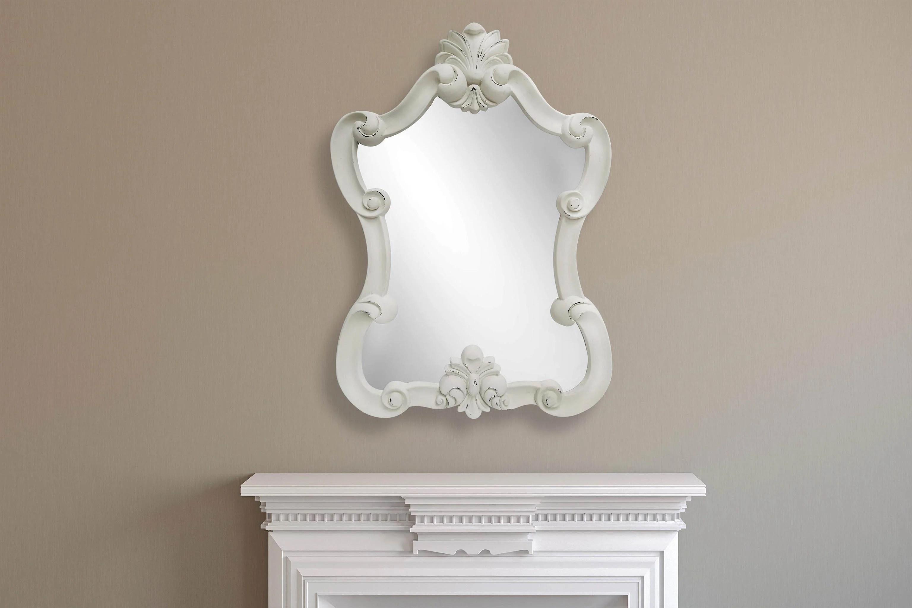 living room wall mirror height minimalist vintage elegant large portrait distressed cream rustic look light grey 112cm