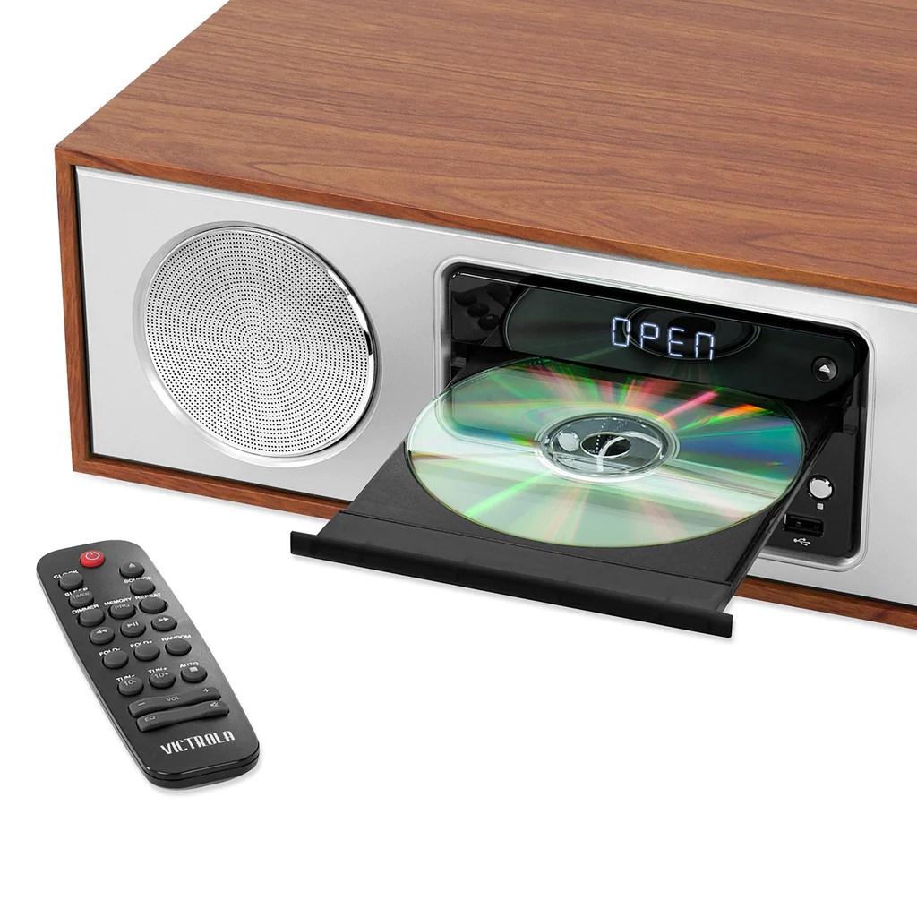 hight resolution of  victrola 30 watt wooden bluetooth microsystem with cd usb and radio maple