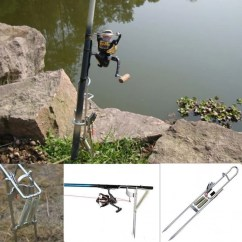 Folding Chair Fishing Pole Holder Skeleton Sitting In A Rod Stainless Steel Automatic Mount Spring Rods