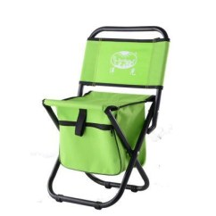 Green Fishing Chair Covers For Sale Auckland Portable With Storage Cool Bag Steel Pipe X Frame Polyester Chairs Tackle Bags