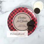 Cookies For Santa Plate Personalized With Kids Names Buffalo Plaid 24th Ave Designs