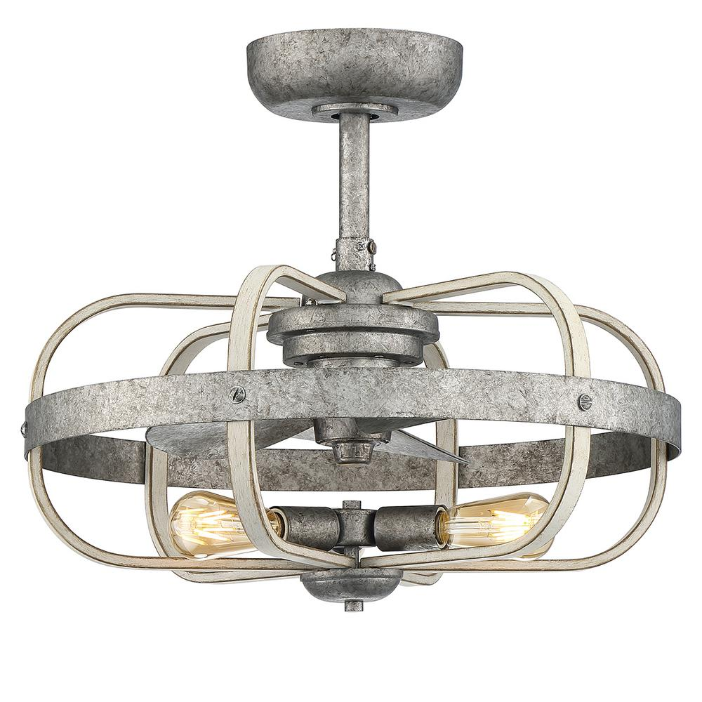 progress lighting keowee 23 in indoor outdoor galvanized dual mount ceiling fan with light kit and remote control