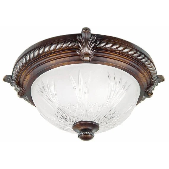 hampton bay bercello estates 15 in 2 light volterra bronze flush mount with etched glass shade