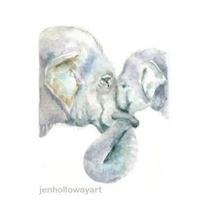 watercolor elephants elephants print