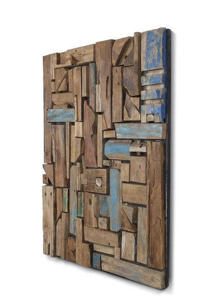Eco Friendly Abstract Colorful Wood Reclaimed Wall Art