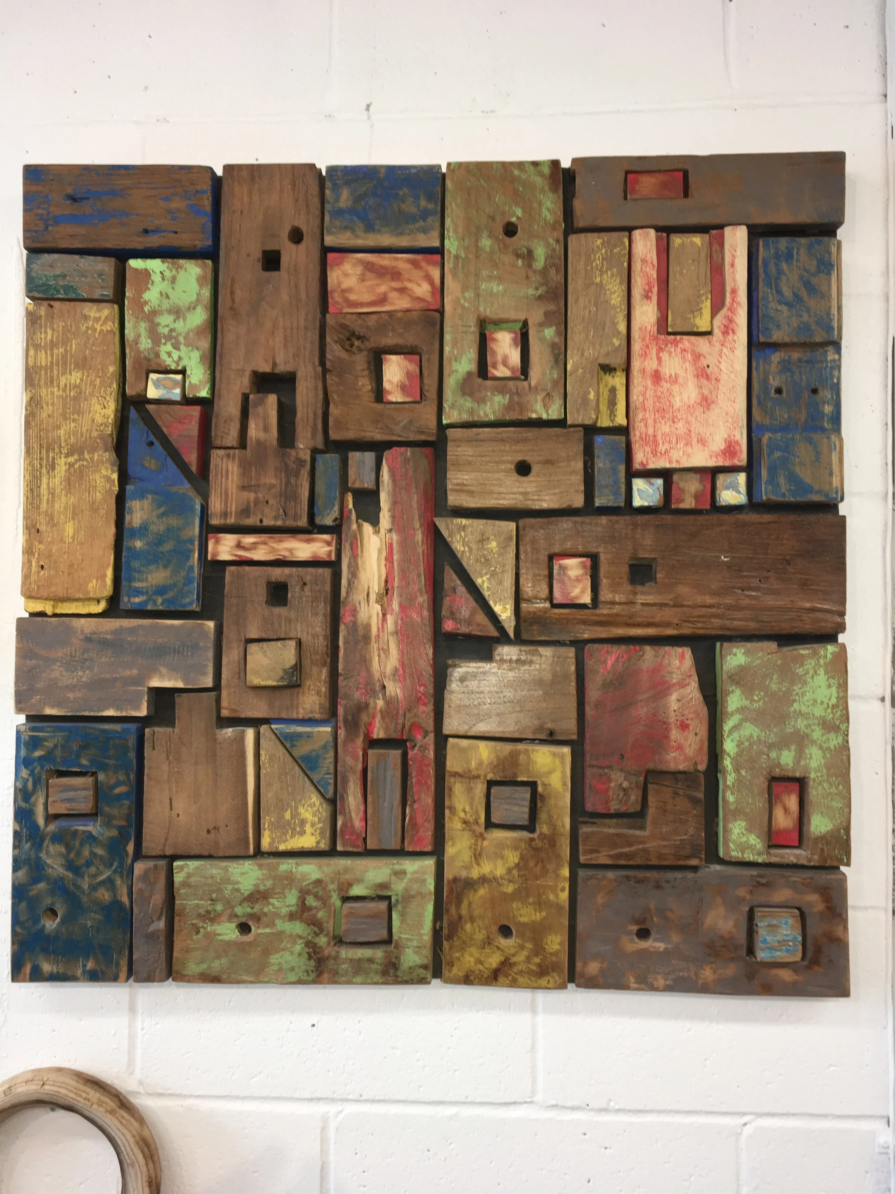 Eco-friendly Abstract Colorful Wood Reclaimed Wall Art