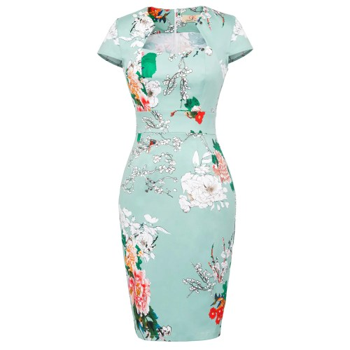 GK Colorful Floral Print Vintage Body-con Pencil Dress