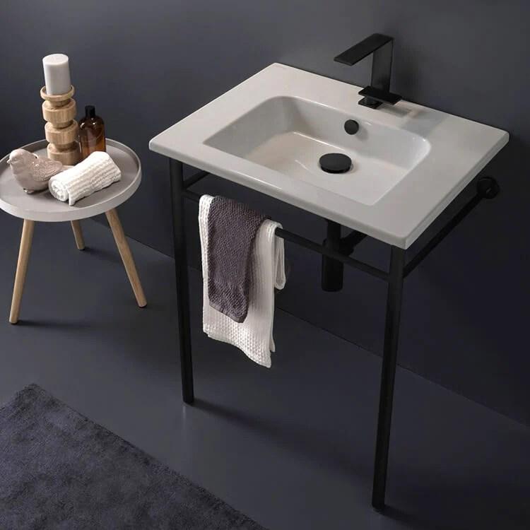 etra ceramic console sink and matte black stand stellar hardware and bath