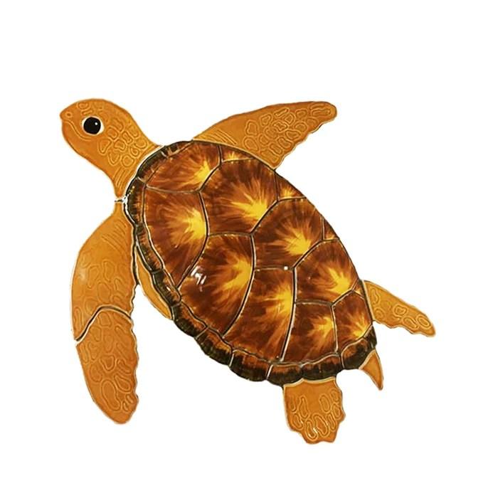 fujiwa turtle brown large small watermark mosaic pool tile