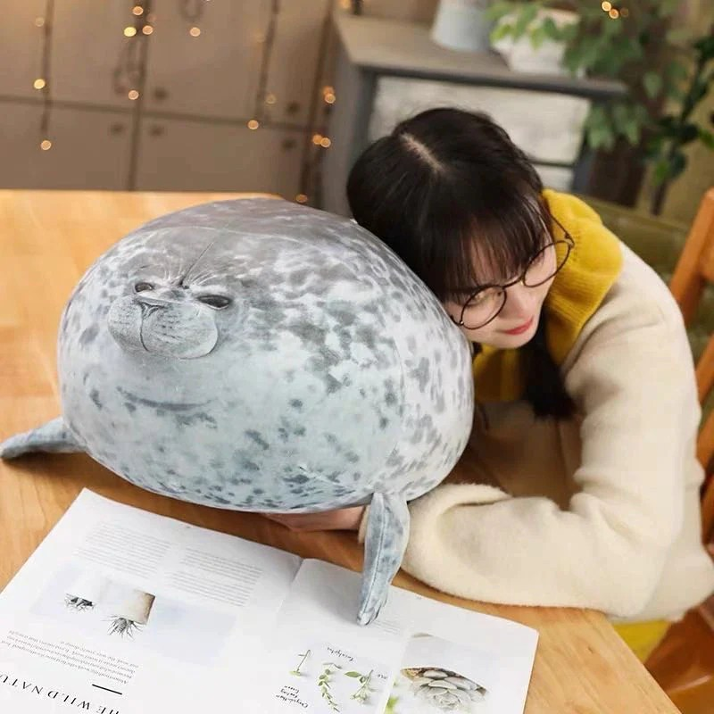 fluffy seal plush pillow