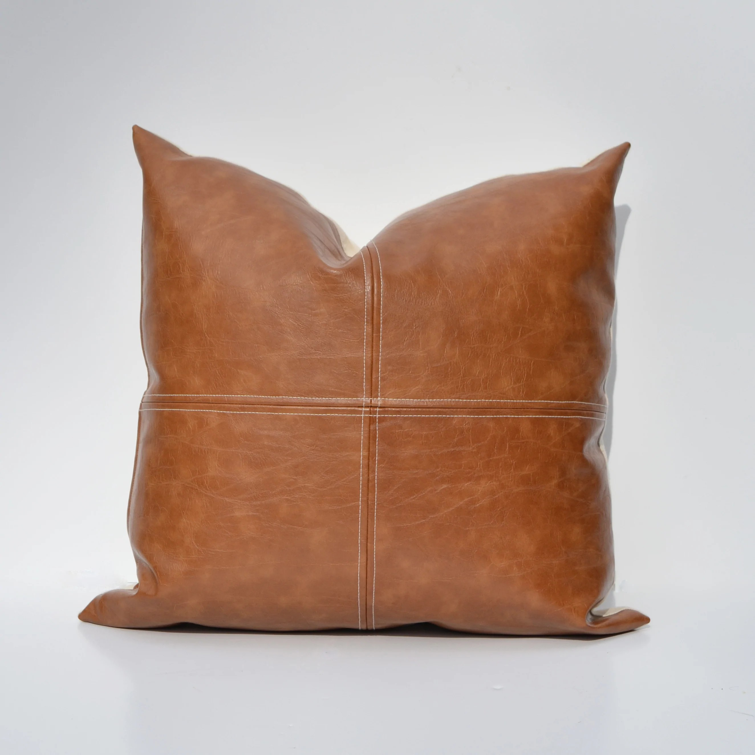 Caramel Brown Paneled Faux Leather Pillow Cover - Custom