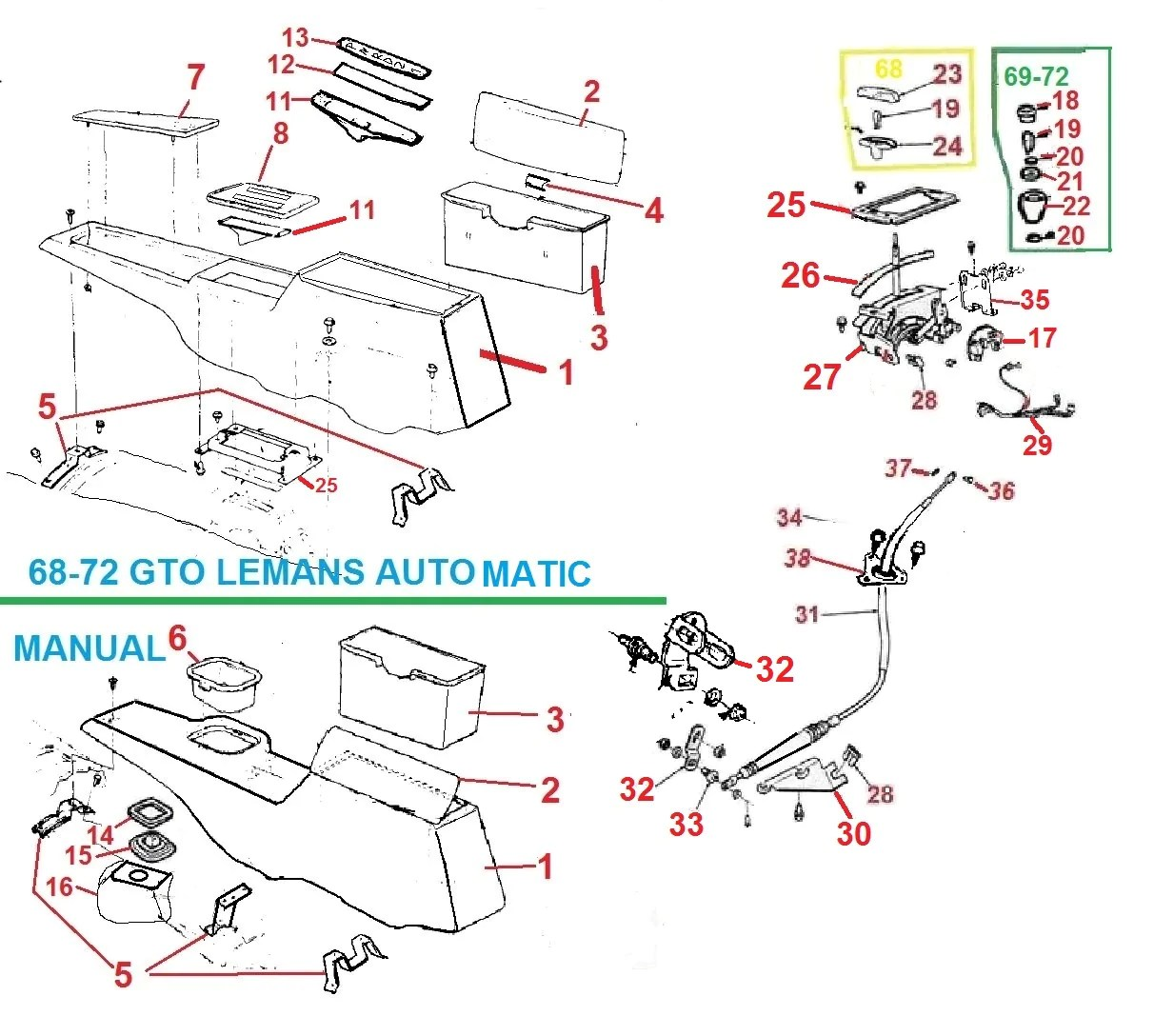 hight resolution of 68 72 gto console parts