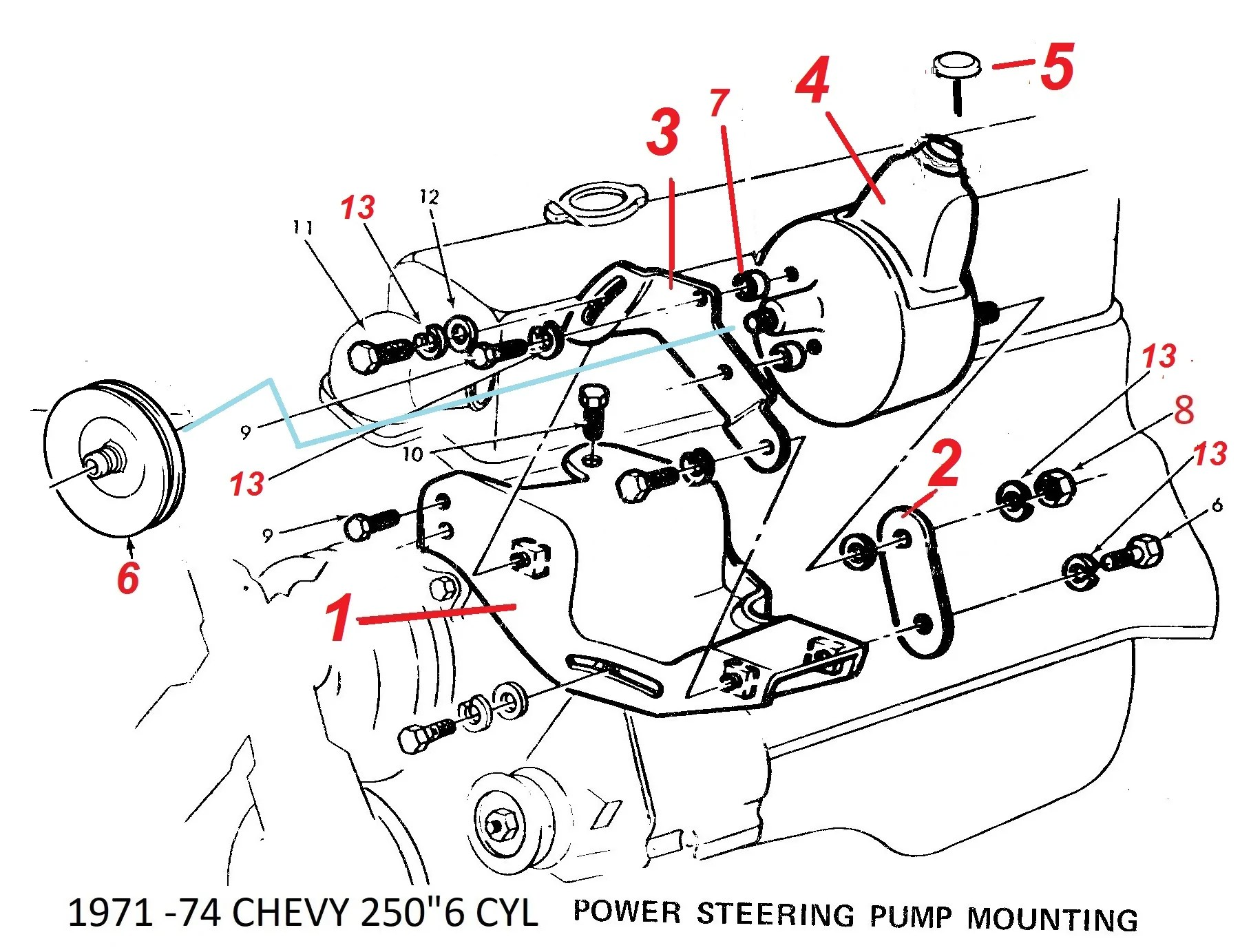 small resolution of 71 74 chevy 250 6 cylinder ps pump brackets
