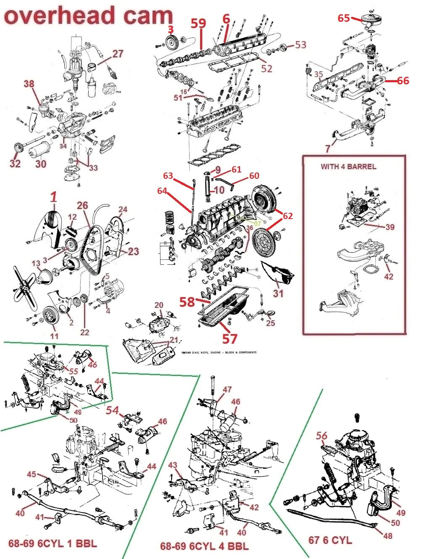 hight resolution of 66 69 firebird lemans tempest ohc 6 engine parts