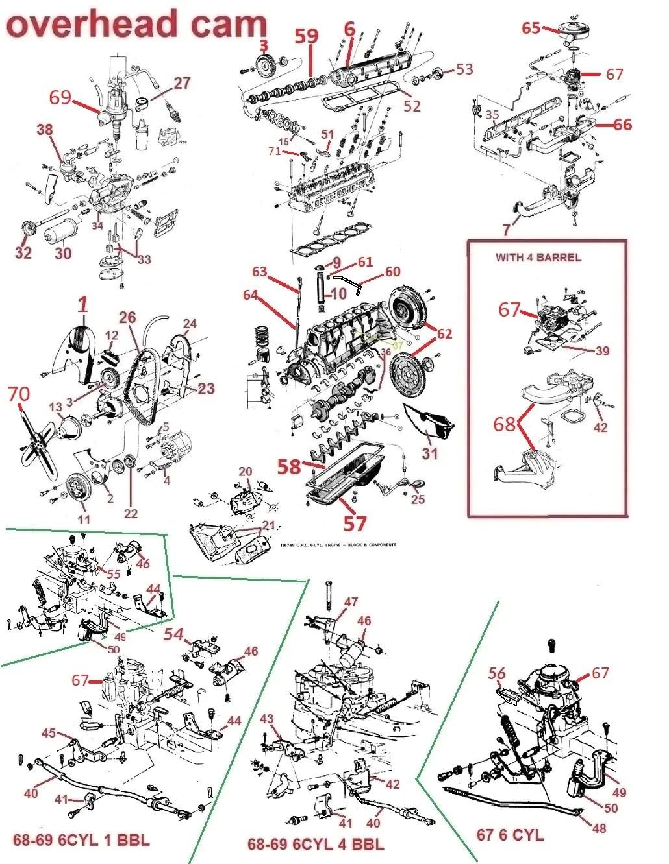 small resolution of 66 69 firebird lemans tempest ohc 6 engine parts