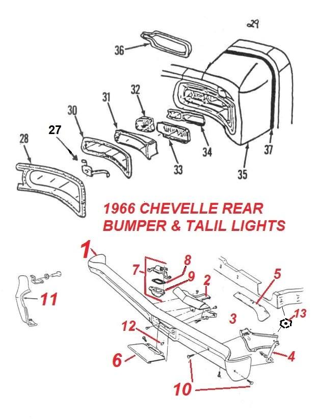 1966 chevelle malibu rear bumper tail