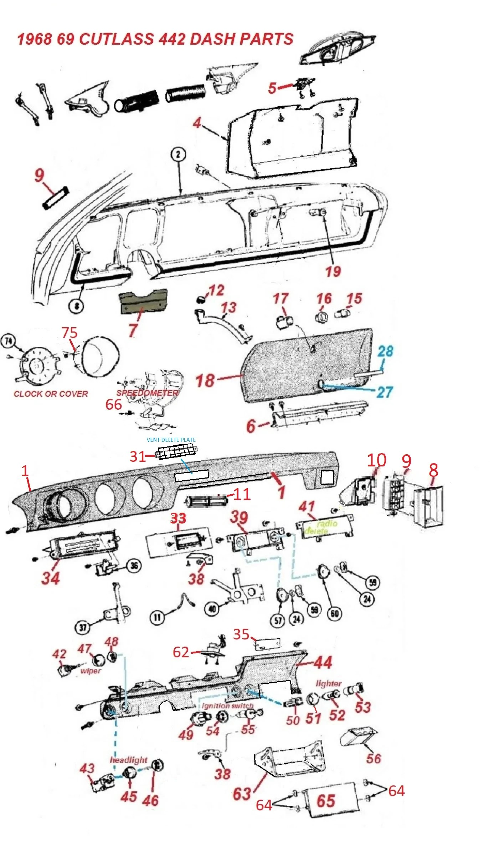 68 69 cutlass 442 dash parts [ 1152 x 2538 Pixel ]