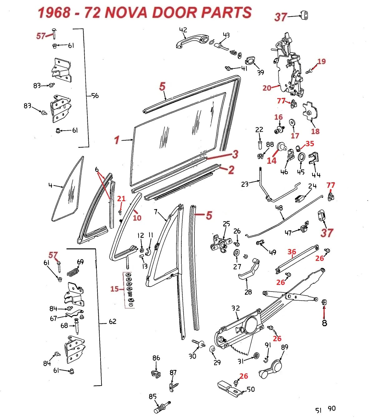hight resolution of 1968 72 nova 71 72 ventura door parts chicago muscle car parts inc car frame schematic car door schematic