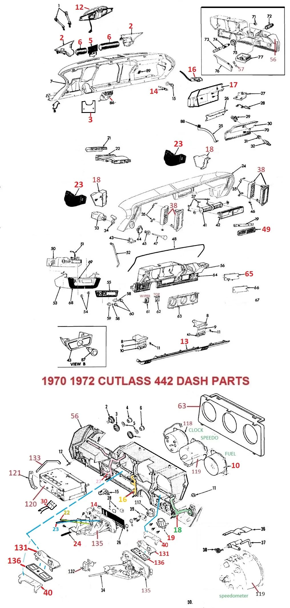 70 71 72 cutlass 442 dash parts [ 1016 x 2132 Pixel ]