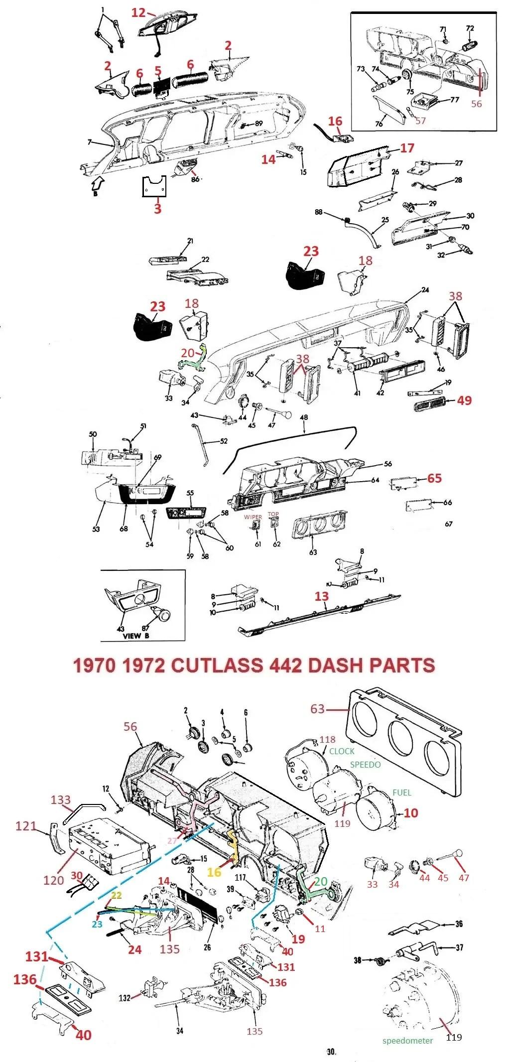 medium resolution of 70 71 72 cutlass 442 dash parts