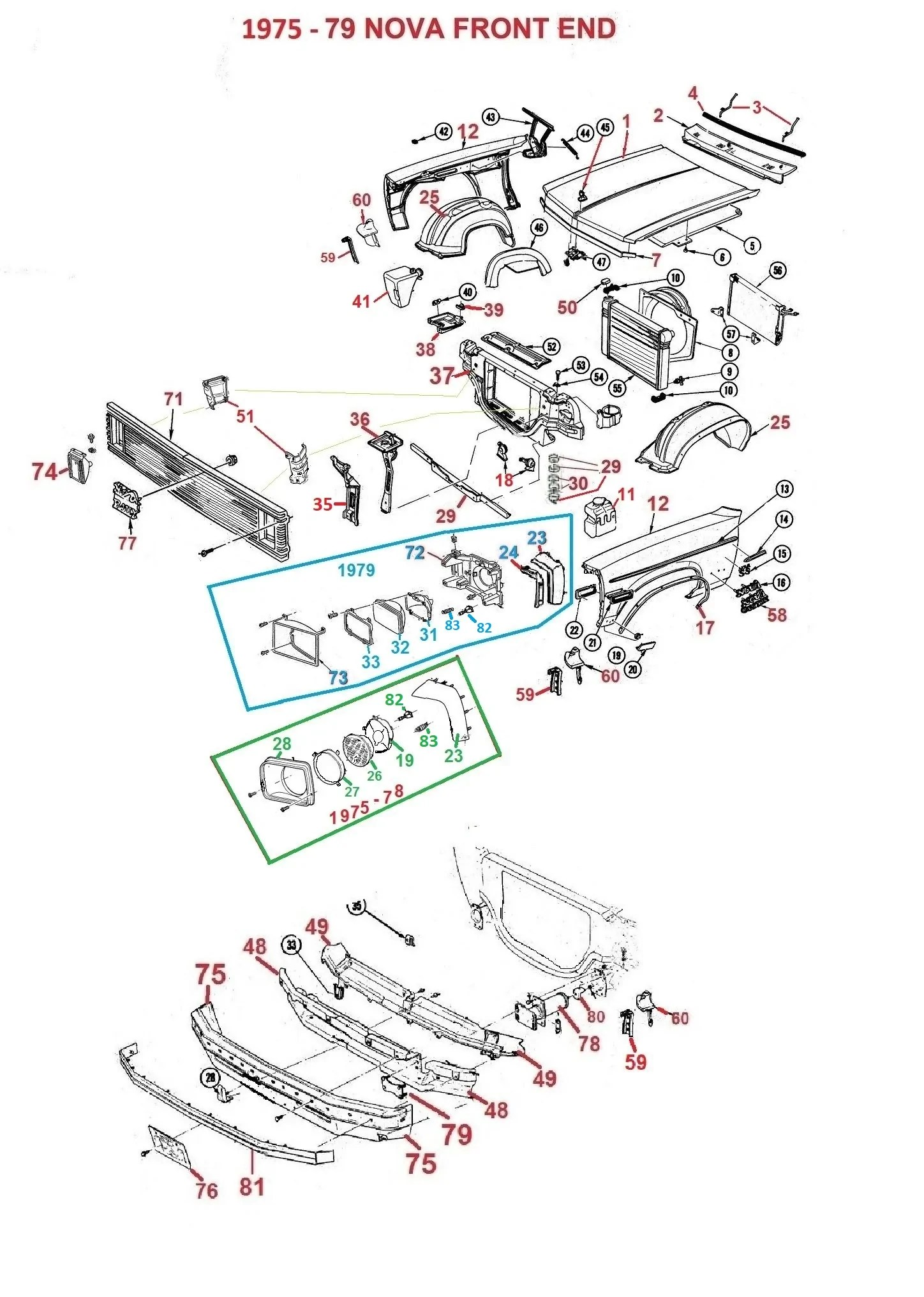 hight resolution of  1976 nova wiring diagram 1962 75 79 nova front end parts chicago muscle car parts inc concours