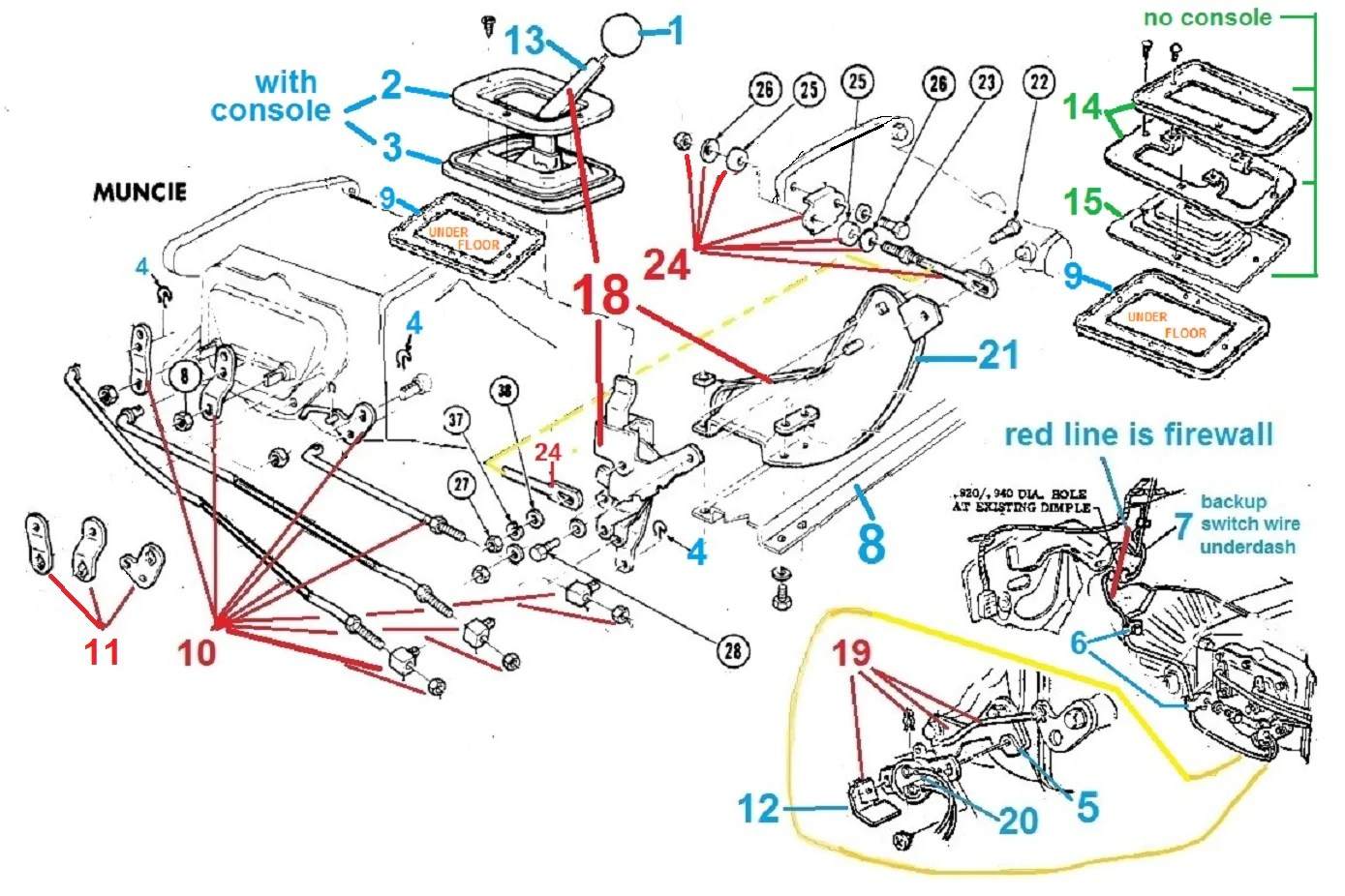 1967 68 camaro manual transmission shifter parts chicago muscle 1967 firebird shifter wiring diagram [ 1389 x 926 Pixel ]
