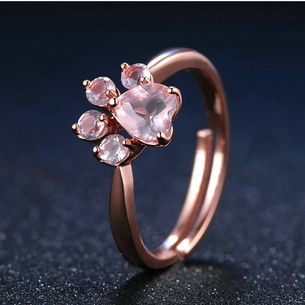 Beautiful 925 Sterling Silver Rose Gold Natural Quartz Paw