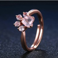 Beautiful 925 Sterling Silver Rose Gold Natural Quartz Paw ...