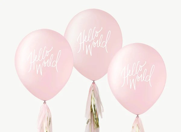 hello world balloons white