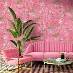 Rivington Chinoiserie Botanical Pink Wallpaper Woodchip & Magnolia
