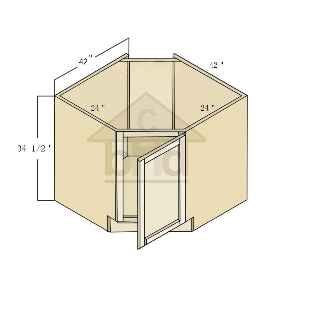 white shaker diagonal corner sink base