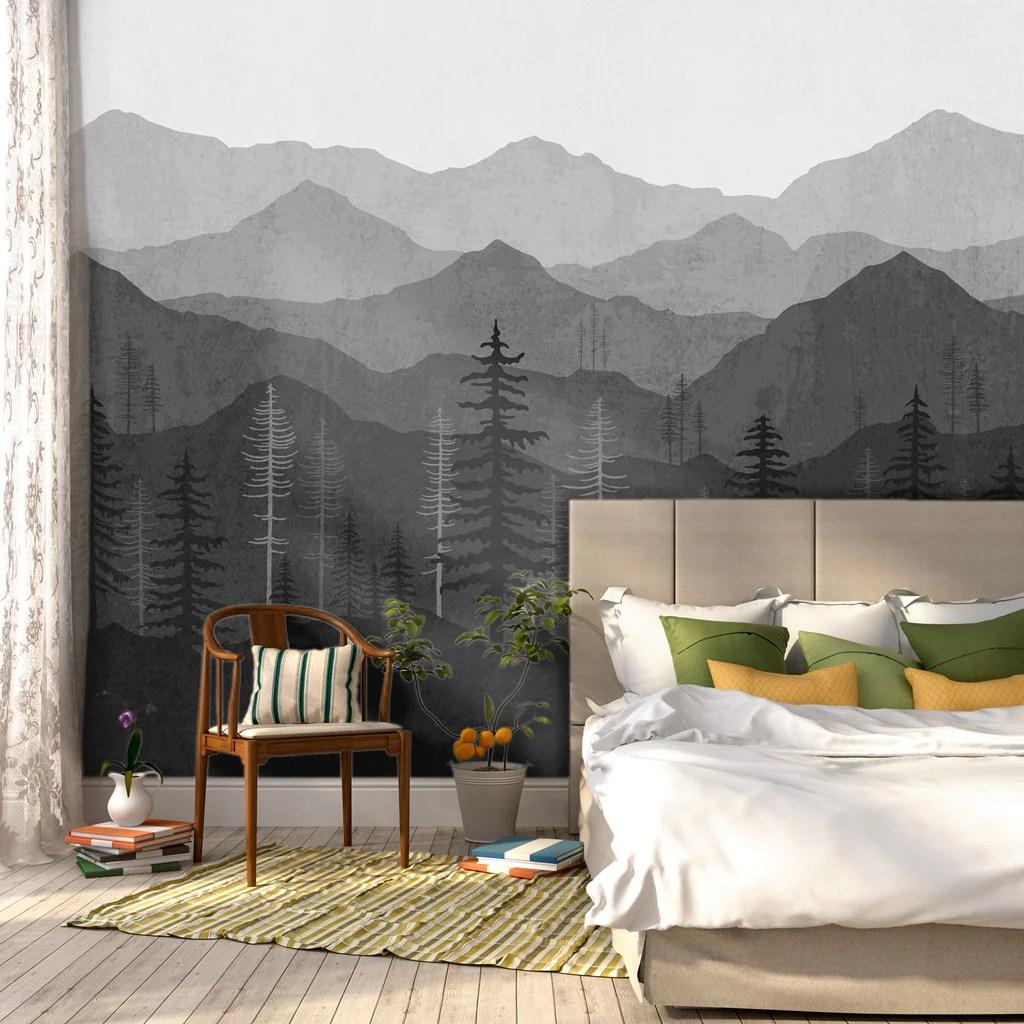 Black Ombr Mountain Mural  W1078  Wallspruce