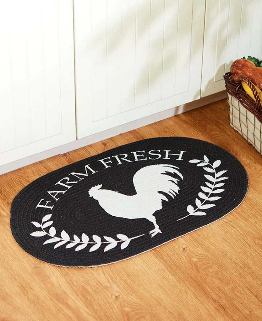 rooster kitchen rug flat panel cabinets country farmhouse cotton braided floor oval