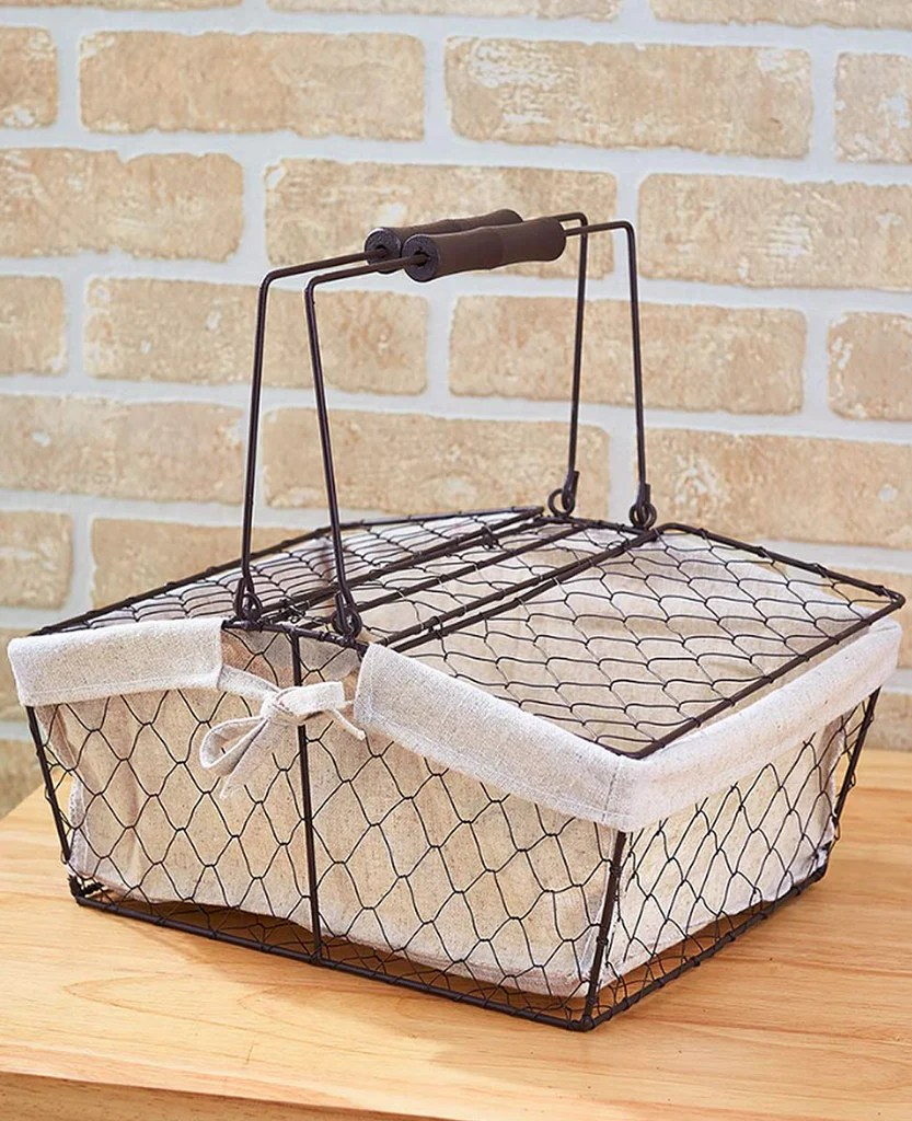 kitchen wire storage crock country farmhouse chicken fabric lined handled basket