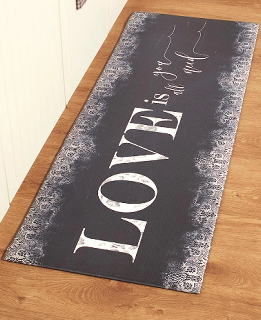 kitchen floor runner carpenter cabinet 55 sentiment rugs mat love is all you need