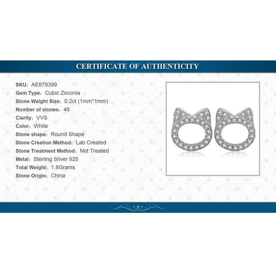 hight resolution of  cat pet 0 2ct cz stud earrings jewelry 2019 cz earrings jewelry type sterling silver earrings new